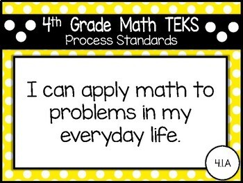 """2018-2019 4th Grade Math TEKS """"I Can"""" Statement Posters: PRIMARY POLKA DOT"""