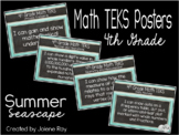 """4th Grade Math TEKS """"I Can"""" Statement Posters: SUMMER SEASCAPE"""