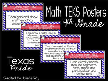 "2018-2019 4th Grade Math TEKS ""I Can"" Statement Posters: TEXAS PRIDE"