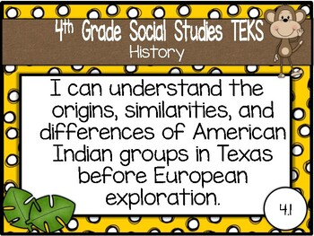 """2018-2019 4th Grade Social Studies TEKS """"I Can"""" Posters: MONKEY BUSINESS"""