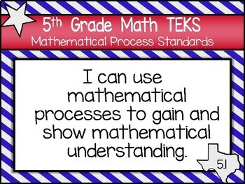 """2018-2109 5th Grade Math TEKS """"I Can"""" Statement Posters: TEXAS PRIDE"""