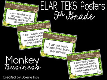 "2019-2020 5th Grade ELAR TEKS ""I Can"" Statement Posters: MONKEY BUSINESS"