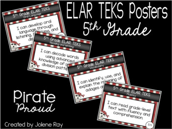 """5th Grade """"I Can"""" TEKS Statement Poster Bundle: PIRATE PROUD"""