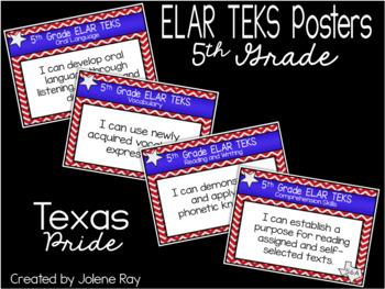 "2018-2019 5th Grade ""I Can"" TEKS Statement Poster Bundle: TEXAS PRIDE"