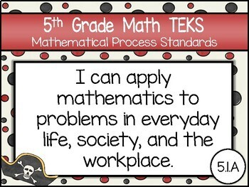 """2018-2019 5th Grade Math TEKS """"I Can"""" Statement Posters: PIRATE PROUD"""