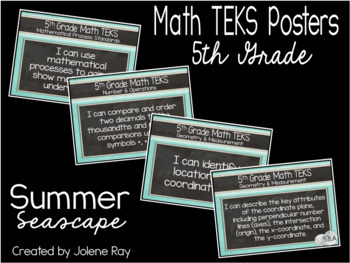 """2018-2019 5th Grade Math TEKS """"I Can"""" Statement Posters: SUMMER SEASCAPE"""