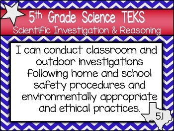 "5th Grade Streamlined Science ""I Can"" TEKS Statement Posters: TEXAS PRIDE"