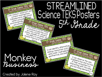 "5th Grade Streamlined Science TEKS ""I Can"" Statement Posters: MONKEY BUSINESS"