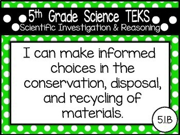 """5th Grade Streamlined Science TEKS """"I Can"""" Statement Posters: PRIMARY POLKA DOT"""
