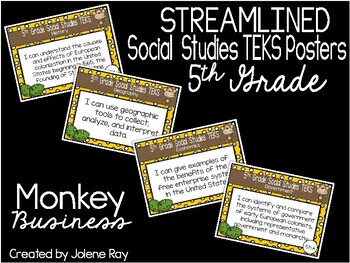 """2018-2019 5th Grade Social Studies TEKS """"I Can""""  Posters: MONKEY BUSINESS"""
