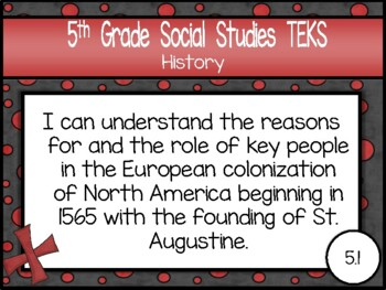 """2018-2019 5th Grade Social Studies TEKS """"I Can"""" Statement Posters: PIRATE PROUD"""