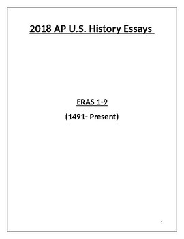 2018 AP US History Essay Prompts All Eras 1-9 with Answers