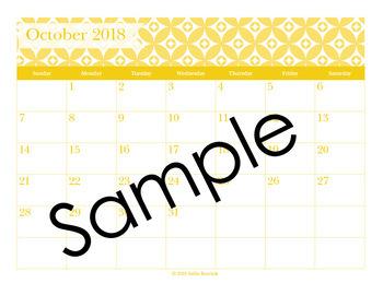 2018 Aqua and Yellow Editable Planner