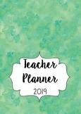 2019 Australian Teacher Planner- Green Watercolour with Editable Cover