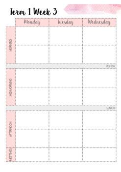 2019 Australian Teacher Planner- Pink Watercolour