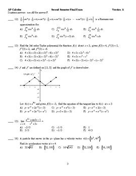2018 BC Calculus Final Exam 6 Versions, pdf format