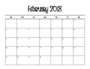 2018 BLANK Calendars - Full Set - FREE