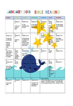 2018 Bible Reading Calendar for Kids