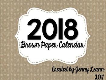 2018 Brown Paper Calendar