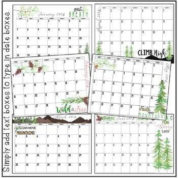 2018 Calendar FREEBIE! A Gift for You. Motivational and Editable.Printable