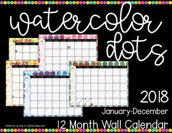 2018 Calendar {Water Color Dots}