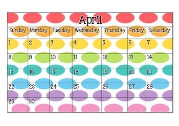2018 Calendar pages