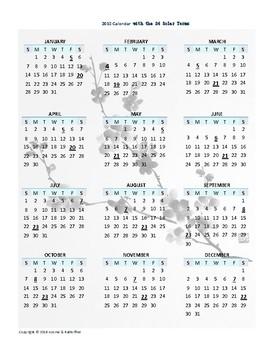 2018 Calendar with the 24 Solar Terms