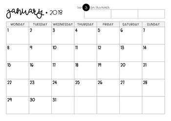 2018 Class Calendar