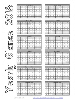 2018 Coloring Monthly Calendar Printable