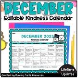 December Kindness Calendar *Editable* (UPDATED FOR 2019!)