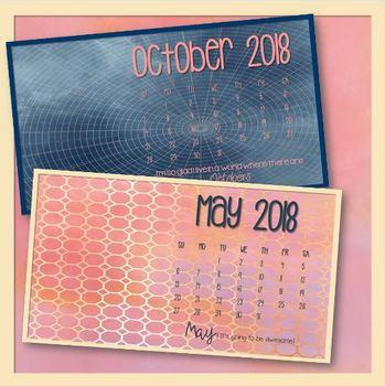 2018 Desktop Calendar Set Pink Storms