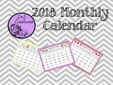 2018 Editable Decorated Chevron Calendar