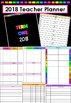 2018 Editable Teacher Planner - Black/Rainbow