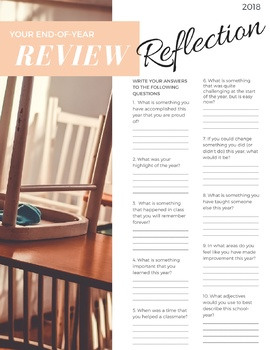 2018- End-of-school-year review w/ quiz, worksheets,& self-reflection activities