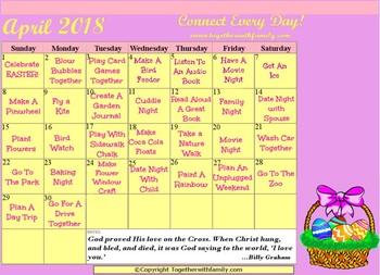 2018 Family Activity Calendars