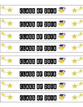Class of 2018 Graduation Water Bottle Label Emoji Stars