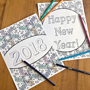 2018 Happy New Years Coloring Pages