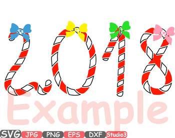 2018 Happy new Year Clip art Silhouette SVG  Santa's magic xmas ornaments 733S