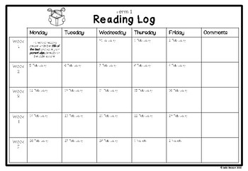 2018 Home Reading Log - Printable Calendar Template for WA Public Schools