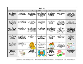 2018 Kindness Calendar