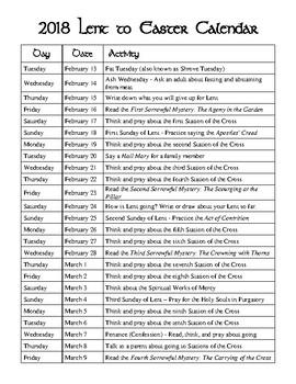 2018 Lent Calendar