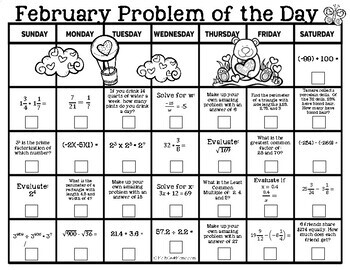2018 Math Problem of the Day Calendars for Grades 6-8