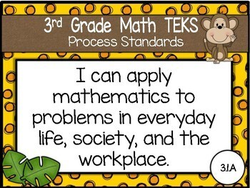 """2018-2019 3rd Grade Math TEKS """"I Can"""" Statement Posters: MONKEY BUSINESS"""