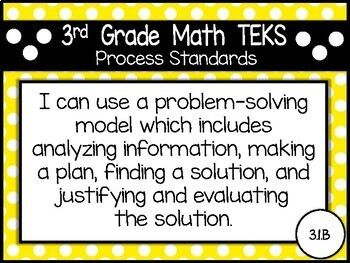 """2018-2019 3rd Grade Math TEKS """"I Can"""" Statement Posters: PRIMARY POLKA DOT"""
