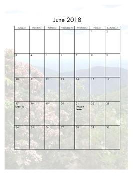 2018 Monthly Calendar w/ Holidays (Portrait)