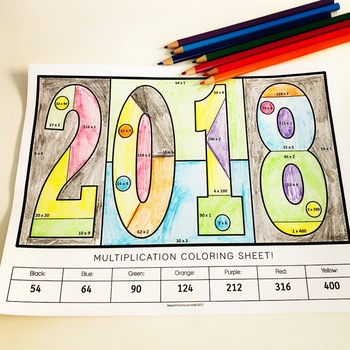 2018 Multiplication Coloring Sheet