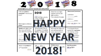 2018 New Year Math Review 6th grade
