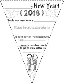 2018 New Year Resolution Goals Pennant Flag Activity