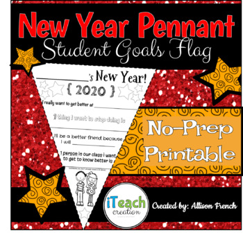 New Year Resolution Goals Pennant Flag Activity Bulletin Board - UPDATED 2019