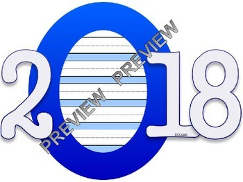 2018 New Year's Resolution Bulletin Board Bundle - Writing Templates Party Hats